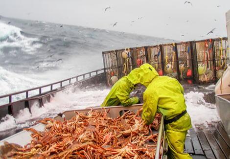 アラスカ 沖にあるベーリング海でのカニ漁の様子